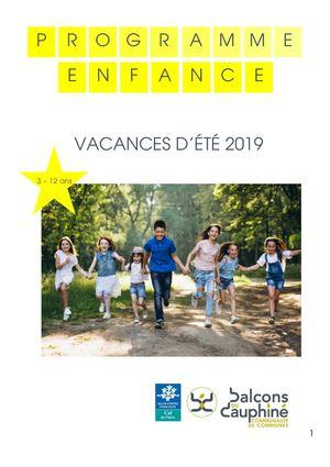 Programme vacances été 2019