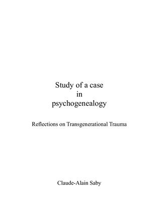 Study Of A Case In Psychogenealogy