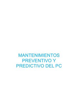 Mantenimientos Preventivo Y Predictivo Del PC