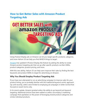 Amazon Product Targeting Ads