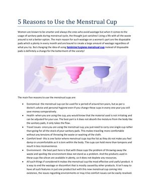 5 Reasons to Use the Menstrual Cup