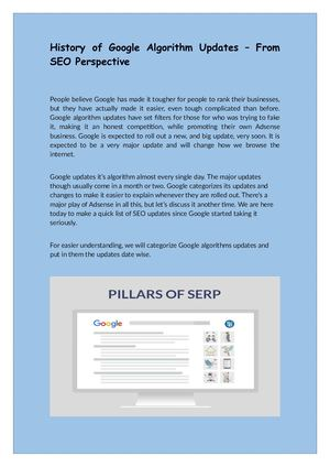 History Of Google Algorithm Updates – From Seo Perspective