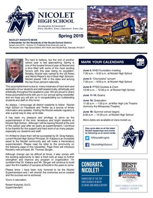Nicolet High School District 2019 Spring Newsletter