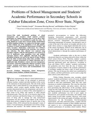 Problems Of School Management And Students Academic Performance In Secondary Schools In Calabar Education of Cross River State, Nigeria