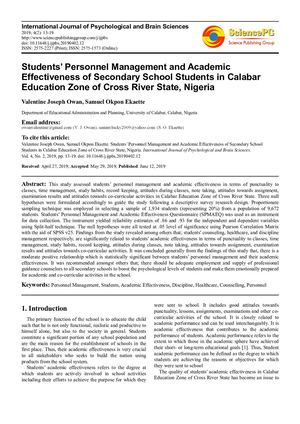 Students' Personnel Management And Academic Effectiveness of secondary school students in Cross River State