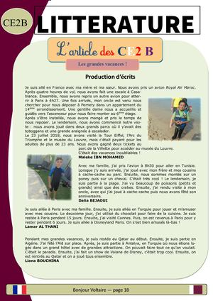 Journal Scolaire 2018 2019 CE2B - Article-