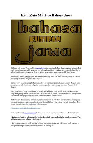 Calaméo Kata Kata Mutiara Bahasa Jawa