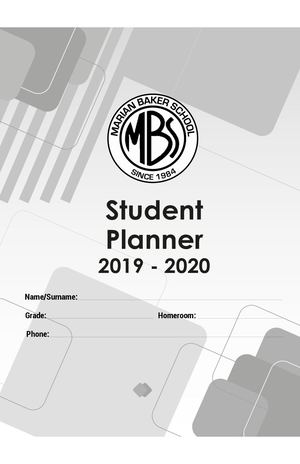 Agenda 2019 | 2020 - Tamaño Media Carta High School