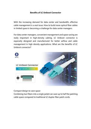 Benefits Of LC Uniboot Connector by HYC Co., Ltd