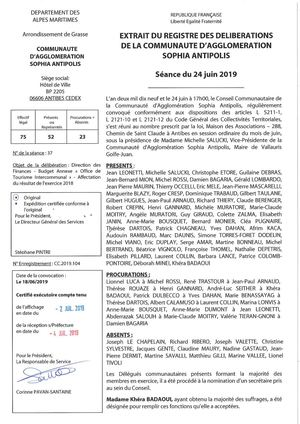 CC 2019 104 DFI - BA Office Tourisme Interco - Affectation Résultat 2018