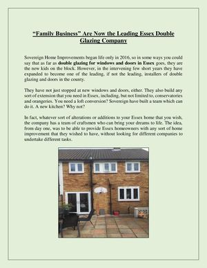 """Family Business"" Are Now The Leading Essex Double Glazing Company"