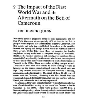 The Impact Of The First World War And Its Aftermath On The Beti Of Cameroun. Par F. Quinn 1987