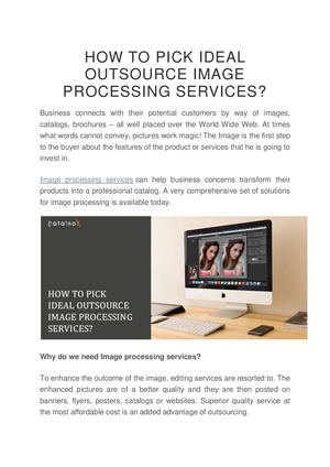 How To Pick Ideal Outsource Image Processing Services Converted