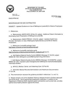 Office Of The Surgeon General Updated Guidance On Use Of Mefloquine Memo~20090202