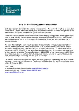 Sds Help For Those Leaving School This Year