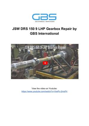 JSW DRS 150 9 LHP Gearbox Repair By GBS International