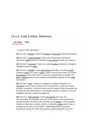 15 USC 1692 A. DEFINITIONS   PG2