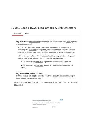 15 USC 1692 I.  LEGAL ACTIONS BY DEBTS COLLECTORS   PG9
