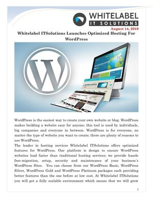 Whitelabel Itsolutions Launches Optimized Hosting For Word Press