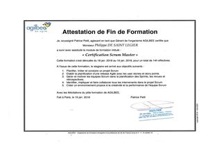 Attestation De Formation Scrum Master