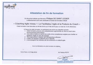 Attestation Coach Agile Formation
