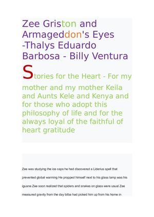 Livr Zee Griston and Armageddon's Eyes -Thalys Eduardo Barbosa - Billy Ventura