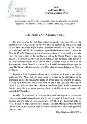 Feuille Paroissiale 16 2019