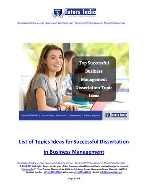 List Of Top Successful Business Management Dissertation Topic Ideas In 2019