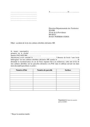 Modele Courrier Absence De Levée