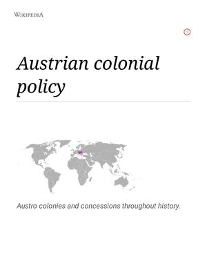 AUSTRIAN COLONIAL POLICY