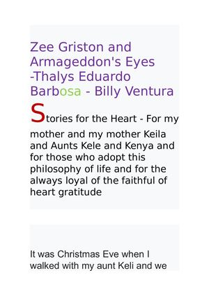 Livro Zee Griston and Armageddon's Eyes -Thalys Eduardo Barbosa - Billy Ventura