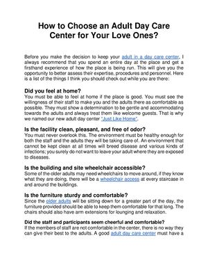 How To Choose An Adult Day Care Center For Your Love Ones