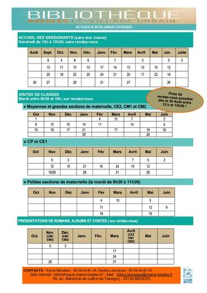 Calendrier Classes 2019 2020