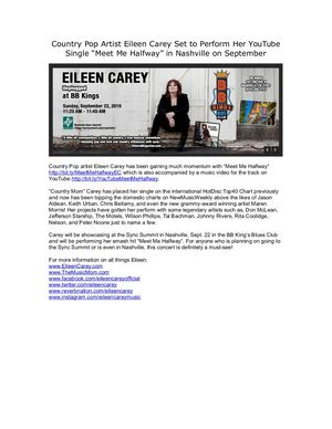 "Country Pop Artist Eileen Carey Set to Perform Her YouTube Single ""Meet Me Halfway"" in Nashville on September"