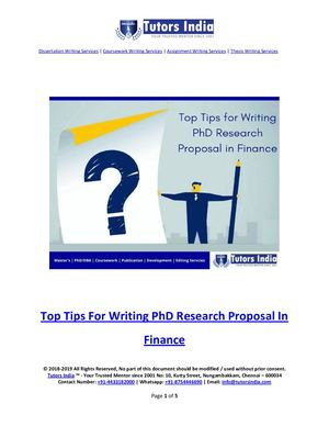 Top Tips For Writing Ph D Research Proposal In Finance