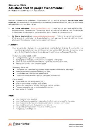 [B3 PGE] Resonance Media Stage Assistant Chef De Projet