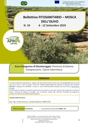 Bollettino Fitosanitario - CALORE SALERNITANO Mosca Dell'Olivo Sett2019