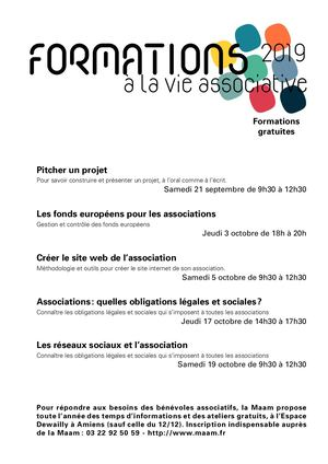 Formations à La Vie Associative Sept/oct 2019