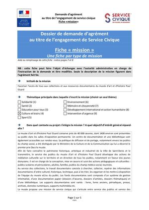 FICHE MISSION SERVICE CIVIQUE MUSEE MEDIATION COLLECTION D CULTURE
