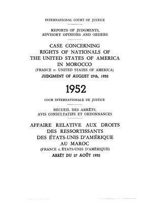 CASE'S CONCERNING: RIGHTS OF NATIONALS OF UNITED STATES OF AMERICA IN MOROCCO 1952
