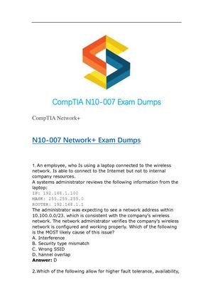 Earn CompTIA Network+ with Updated N10-007 Dumps