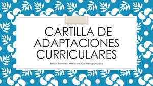Cartilla De Adaptaciones Curriculares