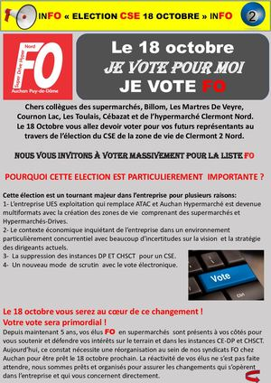 Tract Pourquoi Voter Fo N°2 ZDV Clermont 2 Auchan Nord