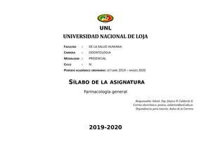 Farmacología General 2019 2020
