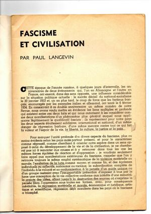 """Fascisme et civilisation"", par Paul Langevin (1937)"
