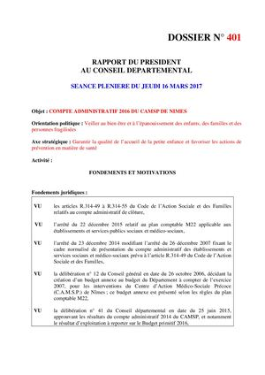 CA 2016 - Budget Annexe CAMSP - Rapport N°401