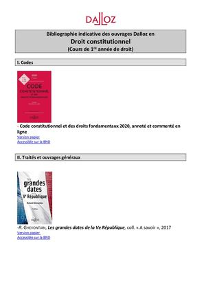Bibliographie Droit Constitutionnel 2019
