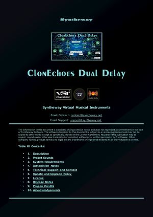 ClonEchoes Dual Delay Effect VST VST3 Audio Unit Plugins: Doubling Echo, Slapback Echo, Ping-Pong, Analog Tape, Bucket Brigade Delay