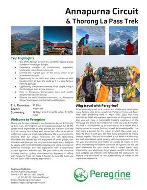 Annapurna Circuit And Thorong La Pass Trek