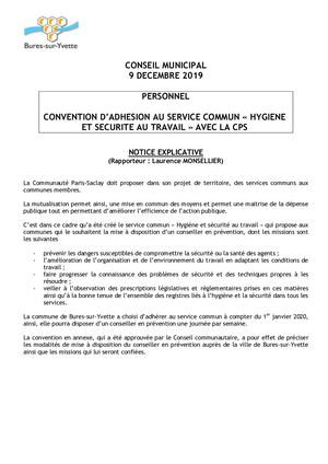 3 - NOTICE + DELIBERATION CONVENTION ADHESION SERVICE COMMUN HYGIENE ET SECURITE